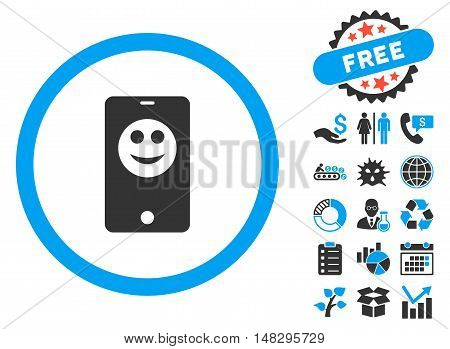 Mobile Phone Smiley icon with free bonus symbols. Glyph illustration style is flat iconic bicolor symbols, blue and gray colors, white background.