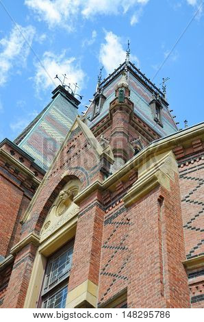 Tower of Memorial Hall in Harvard University, Cambridge, Massachusetts, USA