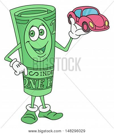 Rolled Dollar Bill Banknote Cartoon Character Offering a Car
