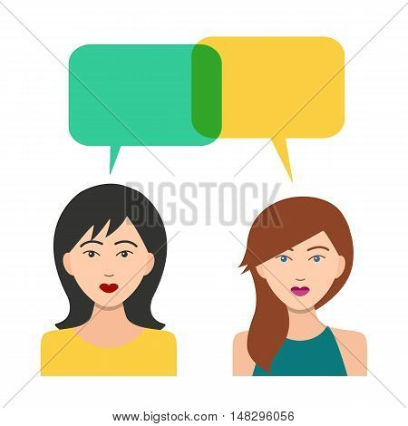 Girls Icons with Dialogue Bubbles. Flat Style Modern Design. Vector Illustration