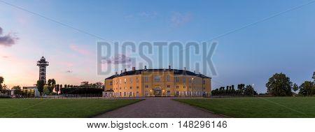Frederiksberg, Denmark - September 21, 2016: Frederiksberg castle in Frederiksberg Park by night