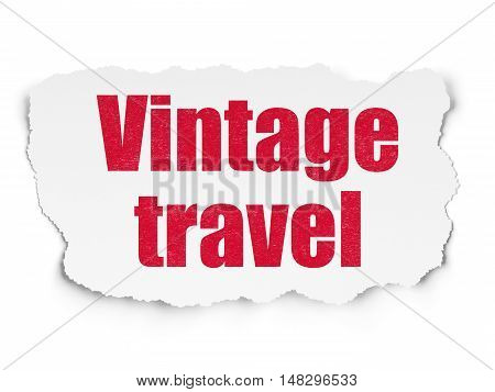 Tourism concept: Painted red text Vintage Travel on Torn Paper background with  Tag Cloud