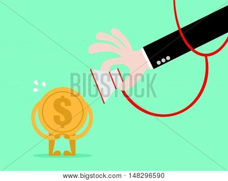 Money Check Up. Financial Health Check. Close Up Hand Use Stethoscope To Check Coin Health