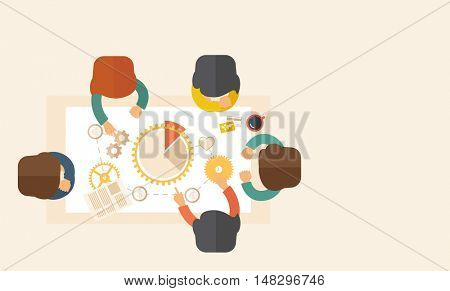 A meeting  of a business people sitting facing each other in the office with coffee and papers on the table infront of them. Sharing and gathering ideas for their marketing plan. Teamwork concept. A