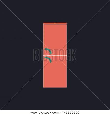 Refrigerator Color vector icon on dark background