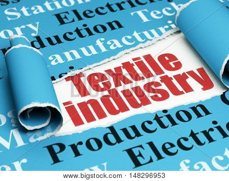 Industry concept: red text Textile Industry under the curled piece of Blue torn paper with  Tag Cloud, 3D rendering