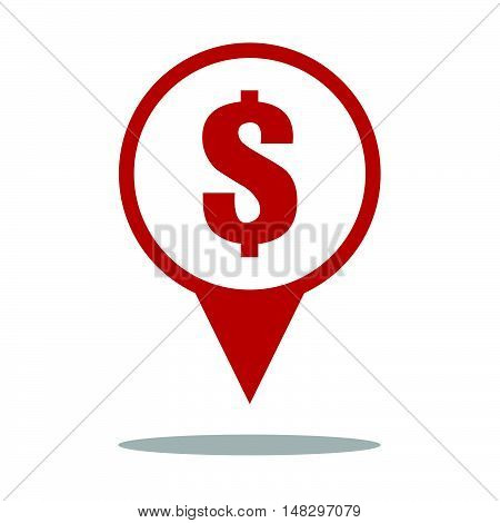 Money Location Sign Icon In Red