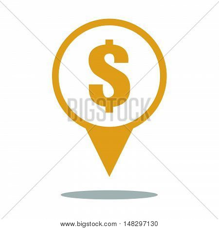 Money Location Sign Icon In Yellow