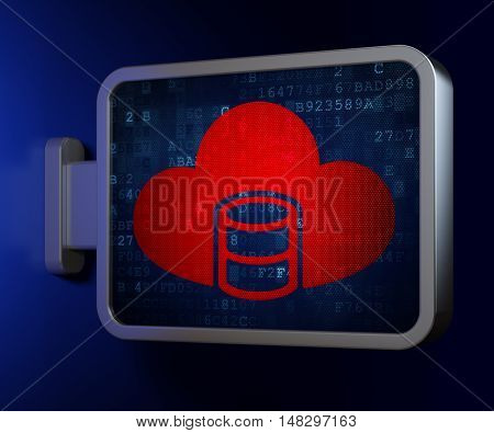 Database concept: Database With Cloud on advertising billboard background, 3D rendering