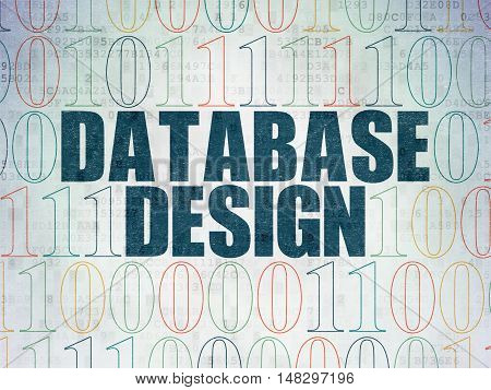 Programming concept: Painted blue text Database Design on Digital Data Paper background with Binary Code