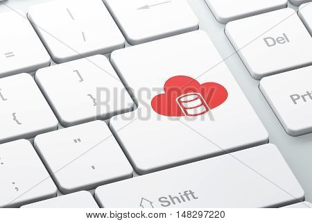 Programming concept: Enter button with Database With Cloud on computer keyboard background, 3D rendering