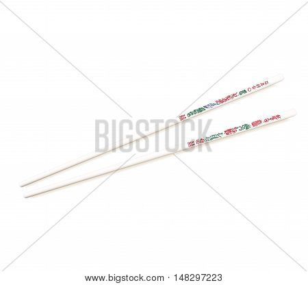 Authentic Dragon style ivory plastic Chinese chopsticks with traditional pattern. Isolated on white. Illustration. Vector illustration