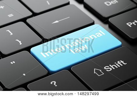 Politics concept: computer keyboard with word International Law, selected focus on enter button background, 3D rendering