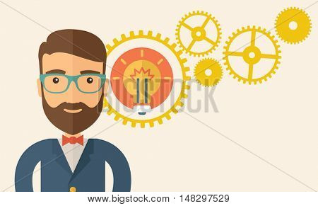 A young good looking, smart hipster Caucasian man with beard thinking a new bright idea, a different kind of imagination  inspired by bulb shape. Human intelligence concept.A contemporary style with
