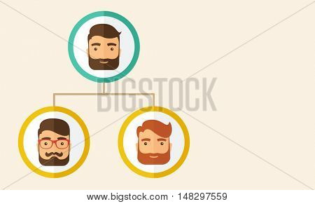 A company chart of three hipster Caucasian employees with beard ranking themselves from higher position down to the next position level. Leadership, teamwork concept. A contemporary style A