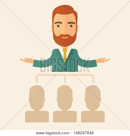 An executive good looking and happy  Caucasian with beard explaining and presenting a business marketing plans to his employees infront of him inside the training room. Planning a business concept. A