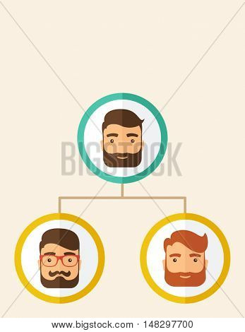 A company chart of three hipster Caucasian employees with beard ranking themselves from higher position down to the next position level. Leadership, teamwork concept. A contemporary style. flat design