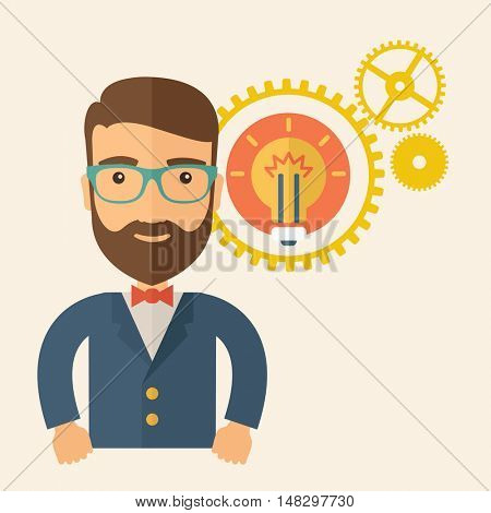 A young good looking, smart hipster Caucasian man with beard thinking a new bright idea, a different kind of imagination inspired by bulb shape. Human intelligence concept. A contemporary style with