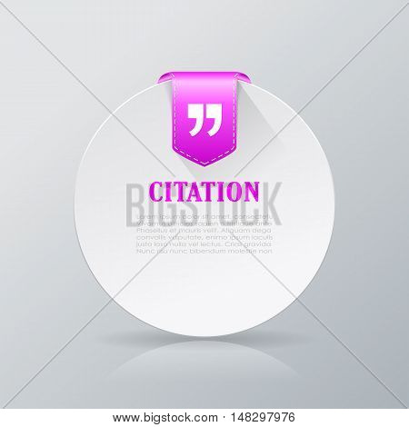 Citation round text card vector illustration isolated on white background