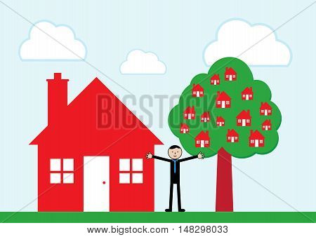 A businessman standing in front of a house and tree that is bearing fruit in the form of houses. A vector illustration concept on growth of a buy to let business.