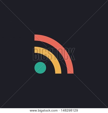 RSS Color vector icon on dark background