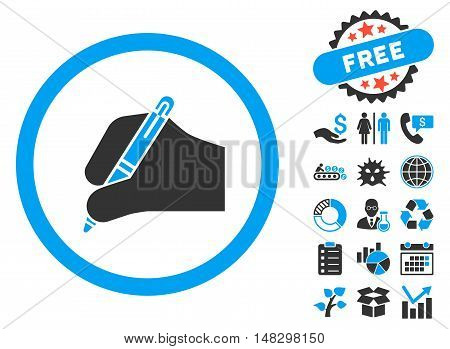 Signature Hand pictograph with free bonus pictograph collection. Glyph illustration style is flat iconic bicolor symbols, blue and gray colors, white background.