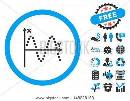 Sine Plot pictograph with free bonus design elements. Glyph illustration style is flat iconic bicolor symbols, blue and gray colors, white background.