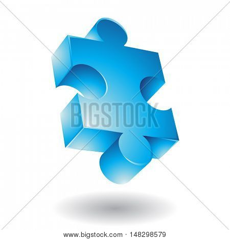 Glossy blue jigsaw isolated on white