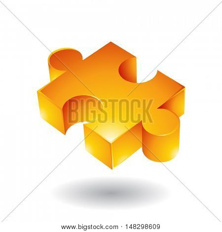 Glossy yellow jigsaw isolated on white