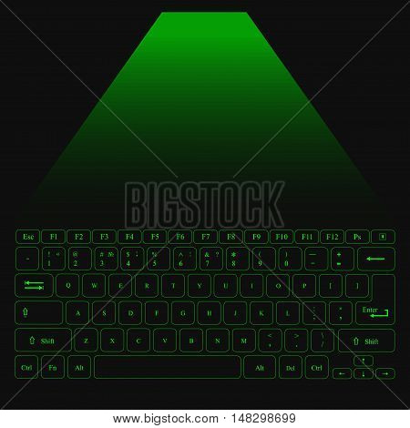 Virtual Laser Keyboard for PC with green buttons