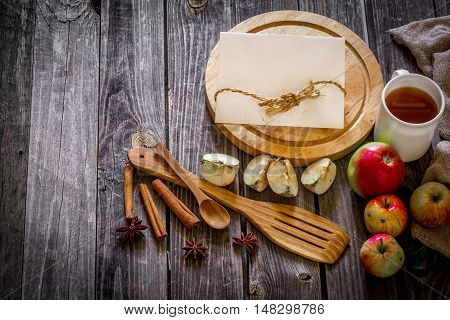 Still Life Of Wooden Utensils And Apples.place For Text On  Background