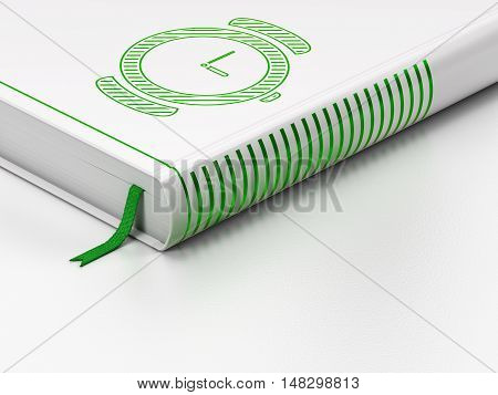 Time concept: closed book with Green Hand Watch icon on floor, white background, 3D rendering