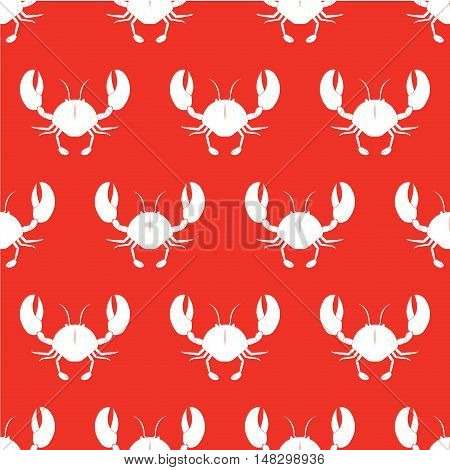 Crab vector seamless pattern. Vector illustration. White