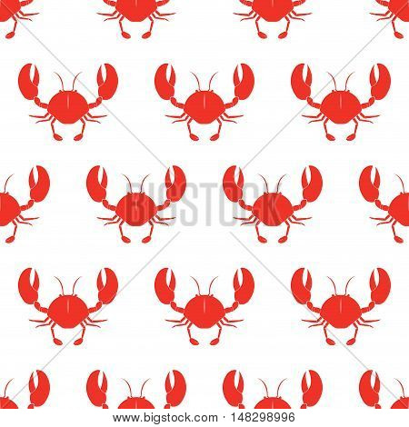 Crab vector seamless pattern. Vector illustration. Red