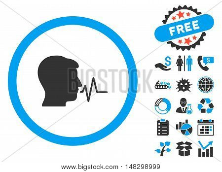 Speaking Signal pictograph with free bonus clip art. Glyph illustration style is flat iconic bicolor symbols, blue and gray colors, white background.