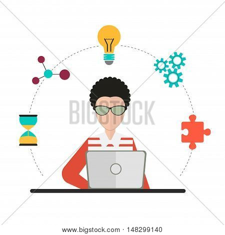 Coworking design over gray background vector illustration.