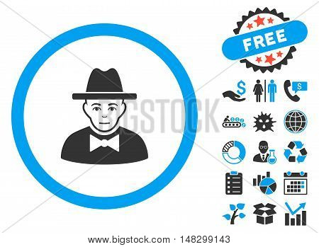 Spy pictograph with free bonus icon set. Glyph illustration style is flat iconic bicolor symbols, blue and gray colors, white background.