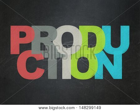 Finance concept: Painted multicolor text Production on School board background, School Board