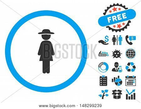 Standing Lady pictograph with free bonus pictogram. Glyph illustration style is flat iconic bicolor symbols, blue and gray colors, white background.