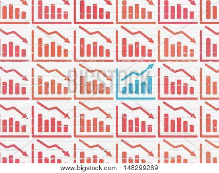 Business concept: rows of Painted red decline graph icons around blue growth graph icon on White Brick wall background