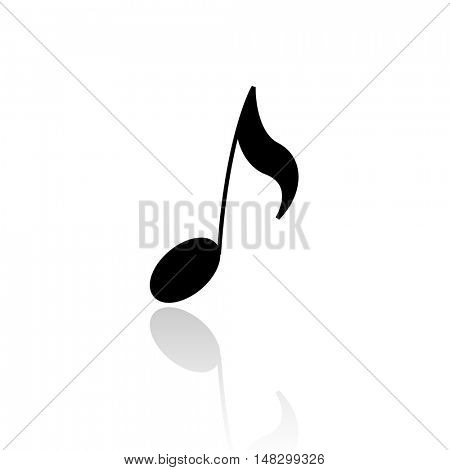 Black musical note isolated on white