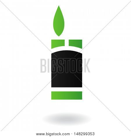 Line art green and black lighter isolated on white