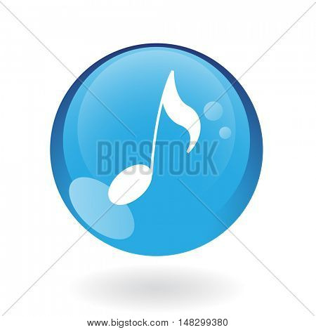 Glossy musical note in blue button isolated on white
