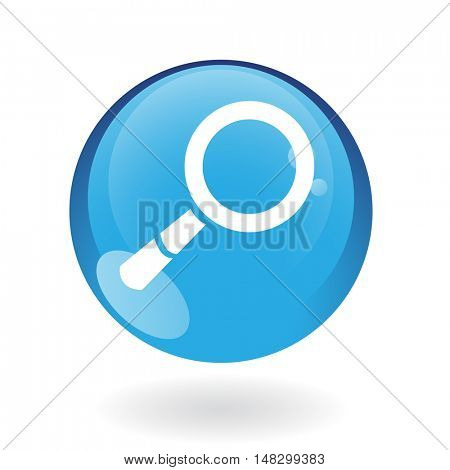 Glossy magnifier in blue button isolated on white background
