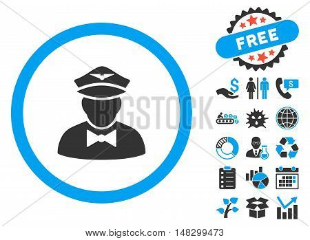 Steward pictograph with free bonus pictures. Glyph illustration style is flat iconic bicolor symbols, blue and gray colors, white background.