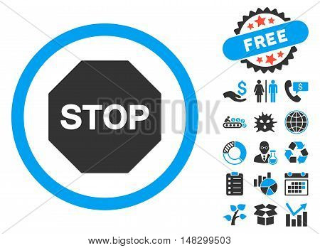 Stop Sign pictograph with free bonus symbols. Glyph illustration style is flat iconic bicolor symbols, blue and gray colors, white background.