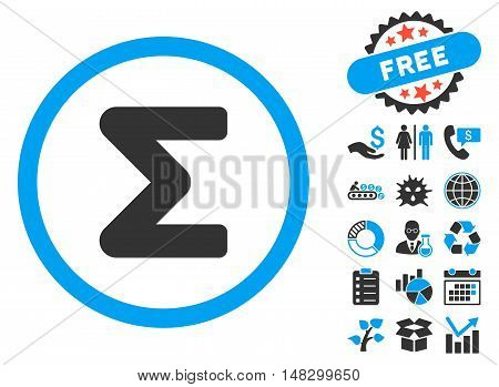 Sum pictograph with free bonus icon set. Glyph illustration style is flat iconic bicolor symbols, blue and gray colors, white background.