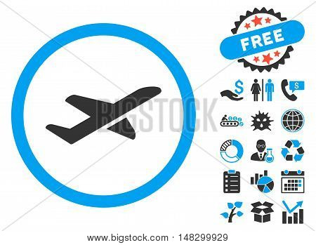 Takeoff icon with free bonus icon set. Glyph illustration style is flat iconic bicolor symbols, blue and gray colors, white background.