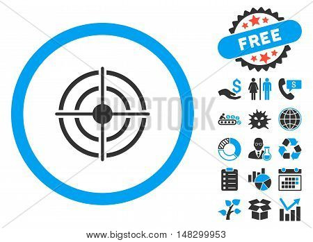 Target Aim icon with free bonus clip art. Glyph illustration style is flat iconic bicolor symbols, blue and gray colors, white background.