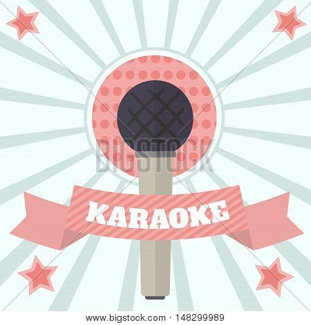 Color vintage karaoke banner, poster. Vector illustration microphone and ribbon.
